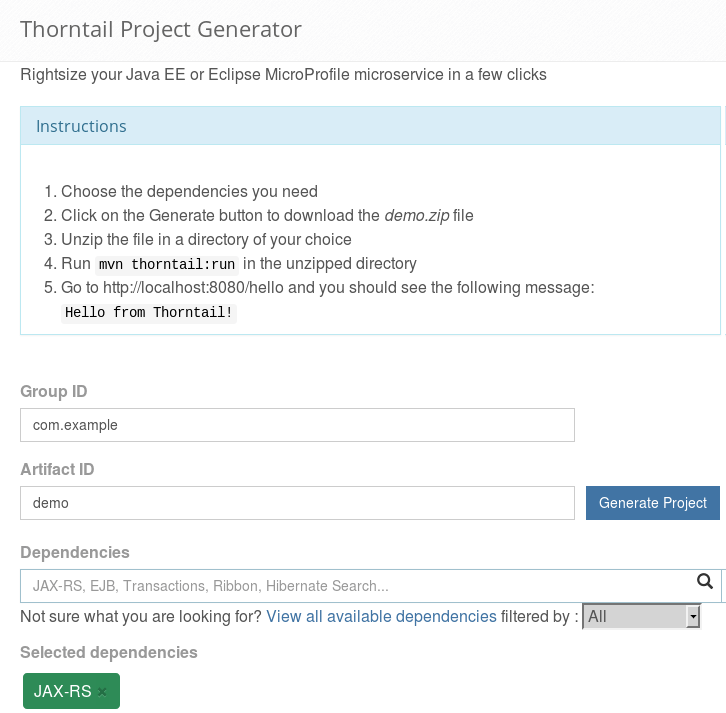 thorntail microservices java ee tutorial