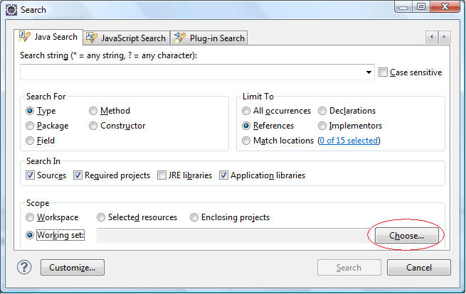 Eclipse search Tips