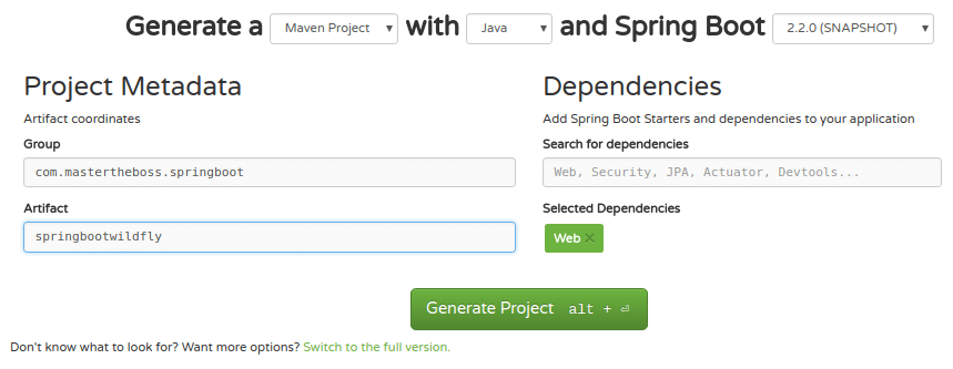 Spring Boot Hello World on WildFly