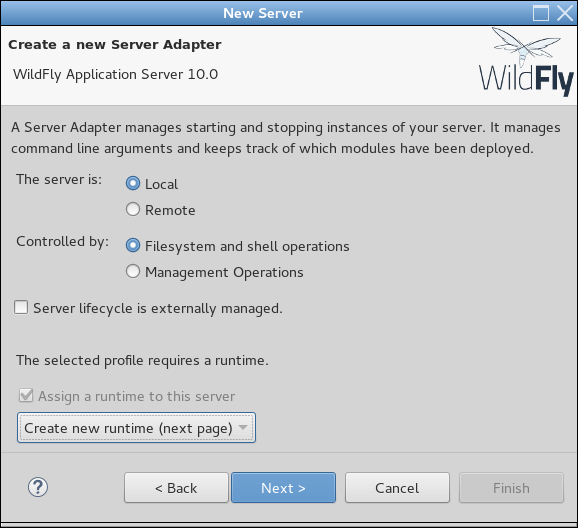 wildfly10 eclipse configure